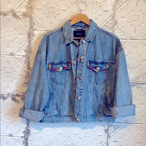Forever 21 Embroidered 80s style jean jacket